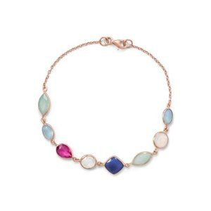 Jewelry - 14K Rose Gold Plated Multi Gemstone Bracelet